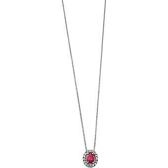 Elements Gold Skylight 9ct White Gold Ruby and Diamond Oval Pave Pendant - Red/White Gold