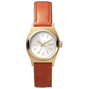 Nixon The Small Time Teller Leather Watch - Light Gold/Brown