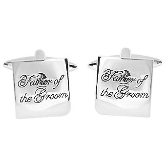 Zennor Father of the Groom Text Cufflinks - Silver/Black