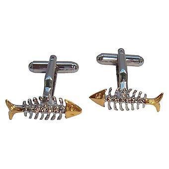 Cuffllinks scheletro Bassin e pesce marrone - oro/argento
