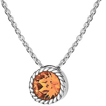 KJ Beckett November Birthstone Swarovski Crystal Necklace - Silver/Golden Yellow