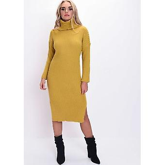 Knit Roll Neck Kinitted Side Split Midi Dress Mustard Yellow