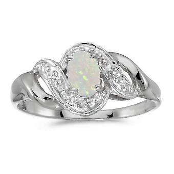 10k White Gold Oval Opal And Diamond Swirl Ring
