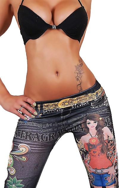 Waooh - Fashion - lange Leggings - bedruckte Jeans und tattoo
