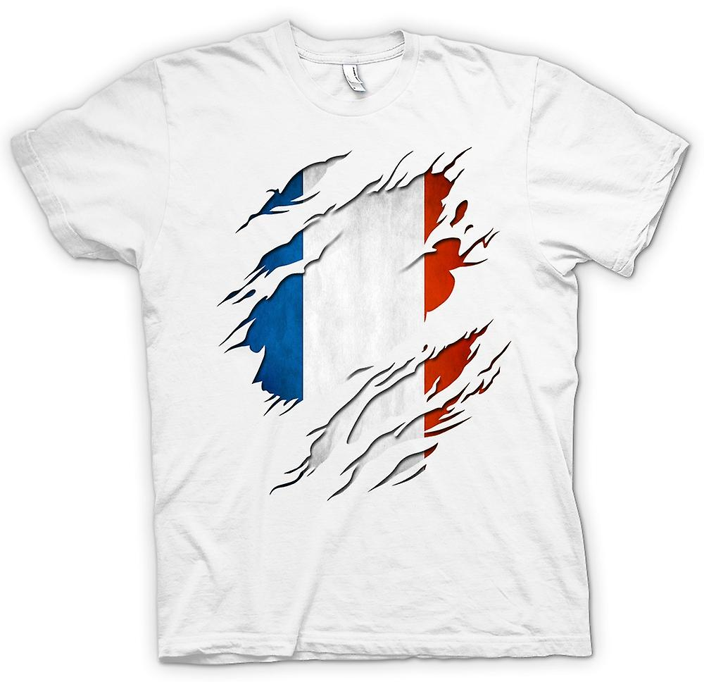 Womens T-shirt - France Tricolore Flag Grunge Ripped Effect