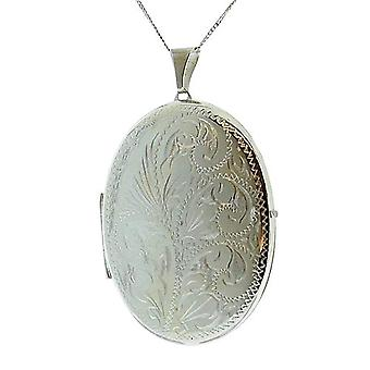 TOC Sterling Silver 9gr 2 Photograph Engraved Oval 45mm Locket Necklace 18