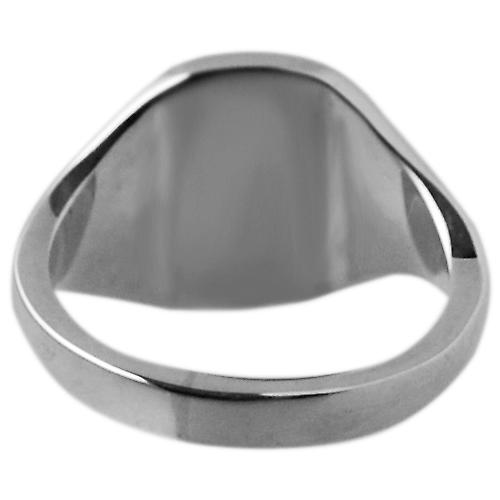 9ct White Gold 12x10mm solid plain cushion Signet Ring Size S