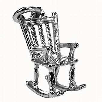 Silver 18x14mm solid Rocking Chair Pendant or Charm