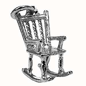 Silver 18x14mm solid Rocking Chair charm
