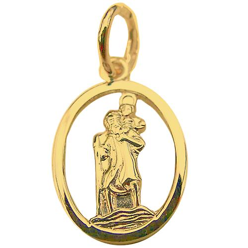 18ct Gold 14x11mm oval pierced St Christopher Pendant
