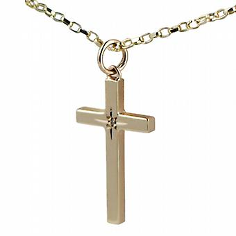 9ct Gold 25x15mm diamond star set solid block Cross with belcher Chain 16 inches Only Suitable for Children