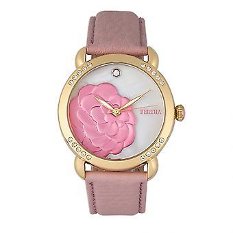 Bertha Daphne MOP Leather-Band Ladies Watch - Light Pink/White