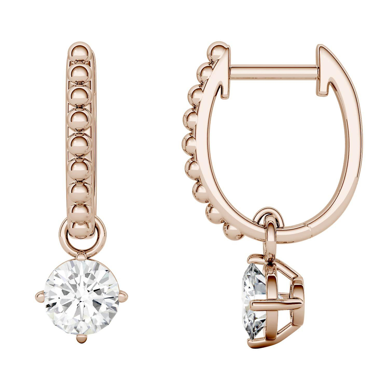 14K Rose or Moissanite by Charles & Colvard 5mm Round Hoop boucles d'oreilles, 1.00cttw DEW
