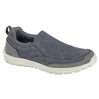 Mens Canvas Casual Shoes Slip On Lightweight Memory Foam Twin Gusset Trainers
