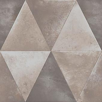 Muriva Caden Taupe Geometric Triangle Wallpaper Metallic distressed Heavyweight