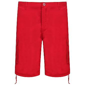 NOIZ Red Cotton Cargo Shorts With Pockets