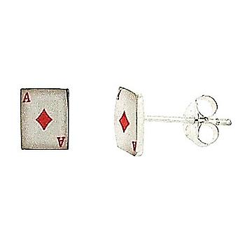 The Olivia Collection Sterling Silver Diamond Playing Cards Stud Earrings