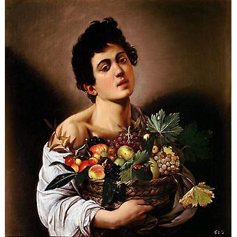 Boy with a Basket of Fruit, Caravaggio, 50x48cm