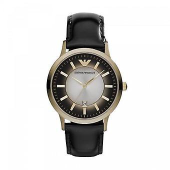 Emporio Armani Ar2468 reloj de pulsera de cuero negro clásico de los hombres
