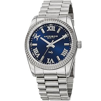 Akribos XXIV Men's AK1034 Quartz Roman Numeral Stainless Steel Watch AK1034SSBU