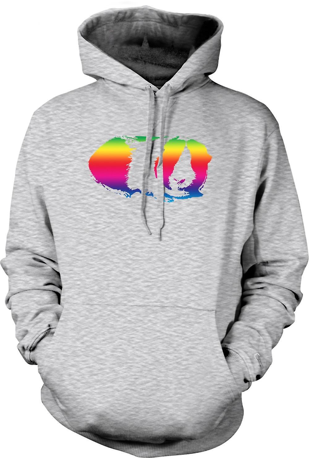 Felpa con cappuccio uomo - cavia arcobaleno