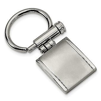 Men's Stainless Steel Brushed & Polished Key Chain - Engravable Gift Item