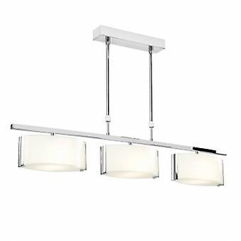 3 luz semi Flush Plafón Cromado, vidrio blanco brillante