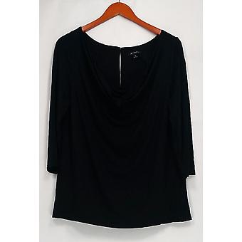 H par Halston Top Knit Cowl Neck w/ Woven Back Black A252749