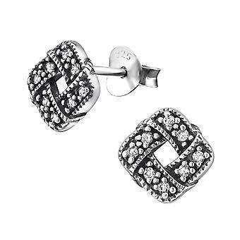 Celtic Knot - 925 Sterling Silver Cubic Zirconia Ear Studs - W30800X