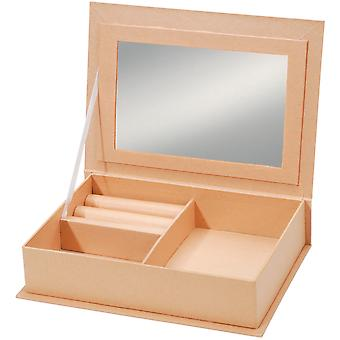 Paper Mache Jewelry Box with Mirror 7.5