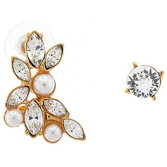 Kenneth Jay Lane Gold & Crystal and Pearl Floral Double Stud Earrings