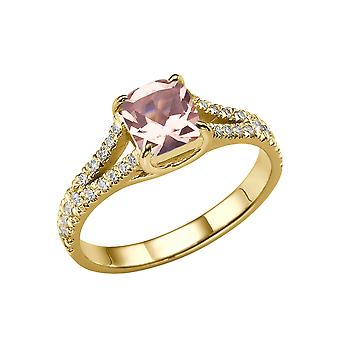 14K Yellow Gold 1.20 CTW natural peach/pink VS Morganite Ring with Diamonds Split Shank Vintage