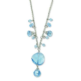Silber-Ton Fancy Hummer Schließung Light Blue Crystal Drop 16 Zoll mit Ext Halskette