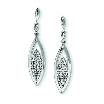Sterling Silver and CZ Brilliant Embers Dangle Post Earrings