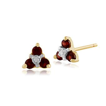 9ct Yellow Gold 0.24ct Garnet & Diamond Floral Cluster Stud Earrings