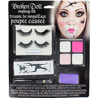 Broken Doll Halloween Makeup Kit With Eyelashes Tattoos, Paint, Sponge & Pencil