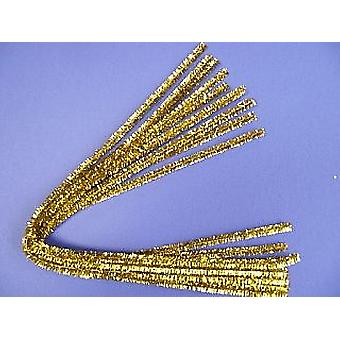 10 Super Long Gold Tinsel Pipe Cleaners | Chenille Stems