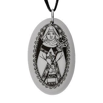 Handmade Saint Brigid Oval Shaped Porcelain Pendant ~ 36 inch Black Cord