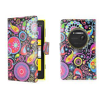 Funda de cuero de PU libro de diseño para el Nokia Lumia 1020 - medusas