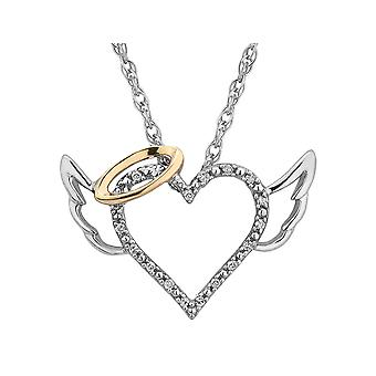 Diamond Angel Heart Pendant Necklace  in Sterling Silver with Chain