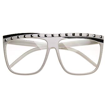 Celebrity Inspired Studded Party Rock Neon Clear Lens Flat Top Sunglasses