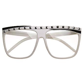 Celebrity inspirado tachas Rock fiesta neón claro lente plano gafas de sol Top