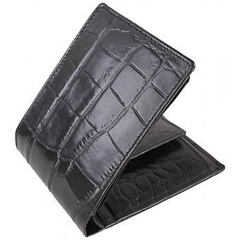 Dents Crocodile Print Coin Holder Wallet - Black