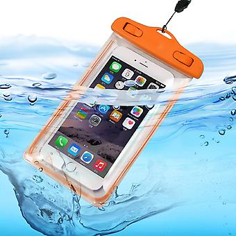 ONX3 (Orange) Huawei Honor V8 Universal Durable Underwater Dry Bag, Touch Responsive Transparent Windows, Watertight Sealed System Pouch