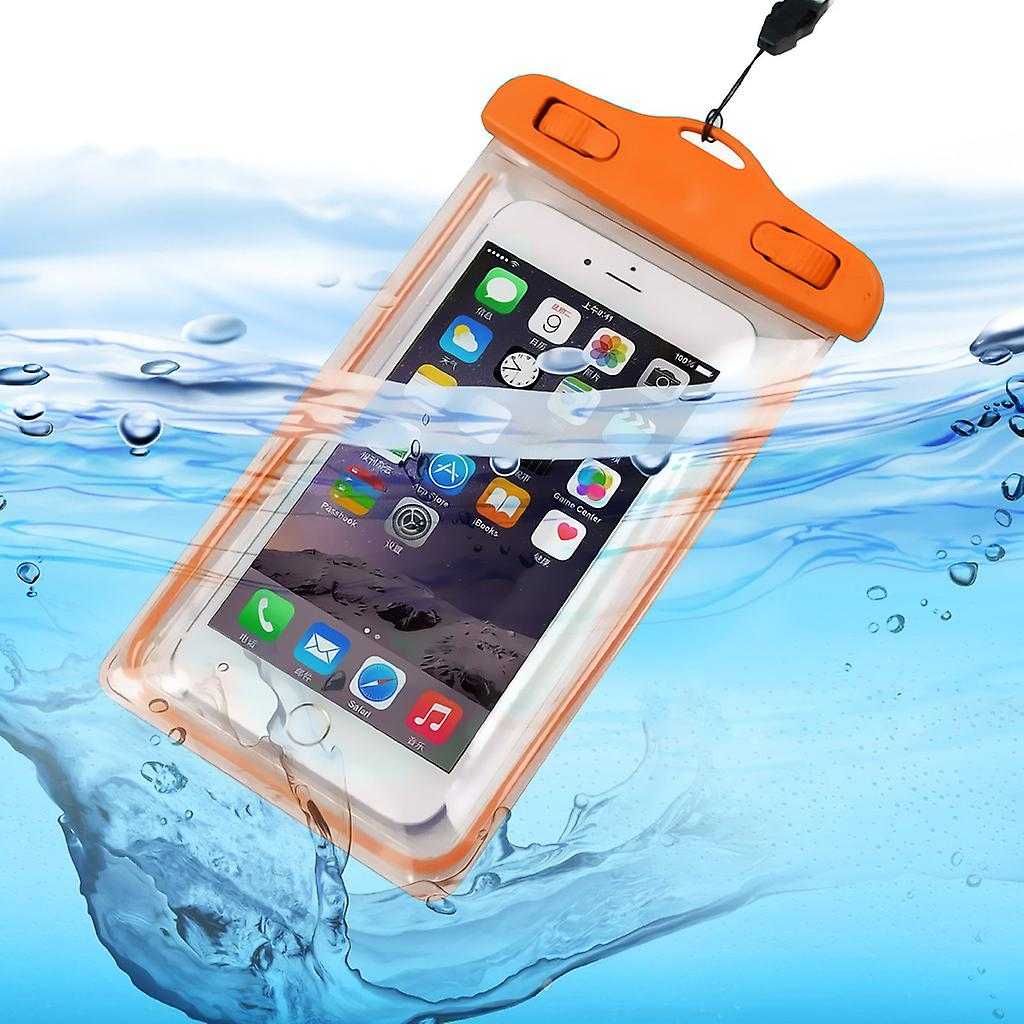 ONX3 (Orange) Alcatel Idol 3 (5.5) Universal Durable Underwater Dry Bag, Touch Responsive Transparent Windows, Watertight Sealed System Pouch