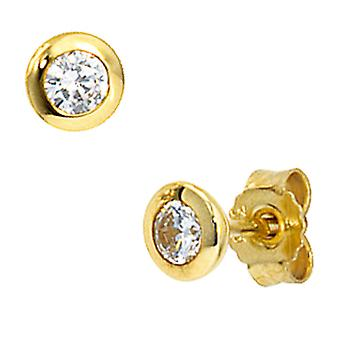 Earrings approximately 333 Gold Yellow Gold 2 cubic zirconia earrings Gold ear studs