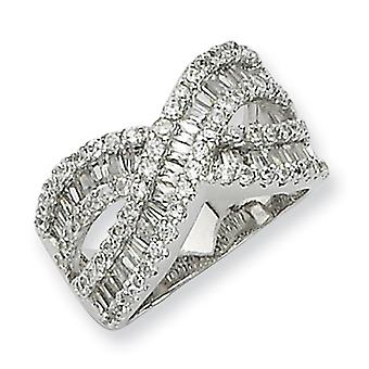 Sterling Silver Cubic Zirconia Ring - Ring Size: 6 to 7