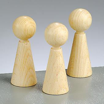 3 Wooden Cone Body Shapes - 60mm | Wooden Shapes for Crafts
