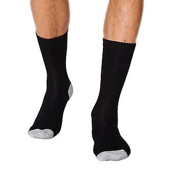 Solid Jack men's soft plain bamboo crew socks in black   By Thought