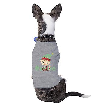 Hashtag Selfie Elf Funny Graphic Pet Shirt Grey Gift For Christmas